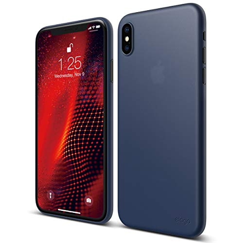 (elago Inner Core Series for iPhone Xs Max case [Jean Indigo] - [Thinnest and Lightest][Prevent Discoloration][Support Wireless Charging][Only Protects Against Scratches] for iPhone Xs Max (2018))