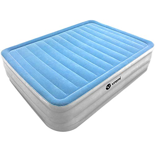 Vremi Inflatable Air Mattress - Queen Size High Raised Airbed with Waterproof Flocked Layer for Kids Toddlers and Adults - Portable Blow Up Bed with Built-in Electric Pump and Carry Bag for Storage