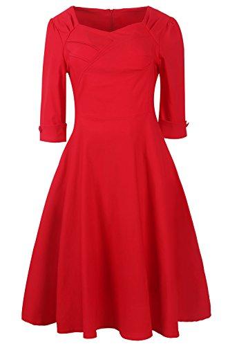 Babyonlinedress Vestido estilo retro y trapecio cuello cuadrado elástico y ajustado Rojo
