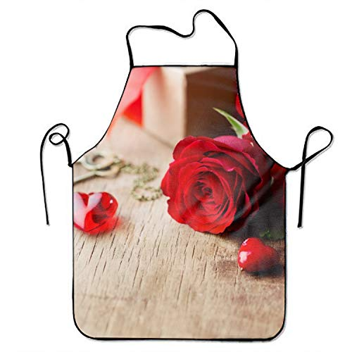 Apron Personalized Valentine (Starfactr Unisex Custom Aprons Valentines Day Rose Waterproof Aprons with Adjustable Kitchen Cooking and Bib BBQ Apron)