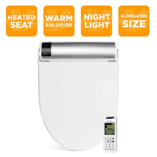 BioBidet Bliss BB2000 Elongated White Bidet Smart Toilet Seat, Premier Class, Unlimited Warm Water, Self Cleaning Hydroflush, Hybrid Heating, Wireless Remote Control, Inviting Nightlight, Vortex Wash