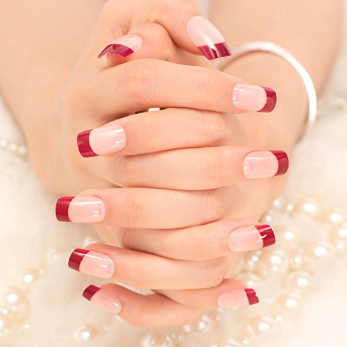 [24Pcs 12 Different Size Natural French Short False Nails Acrylic Full Cover Nails( 3 Styles) (red)] (Red Fake Nails)