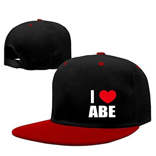 i-love-abe-i-love-abraham-heart-contrast-color-snapback-red