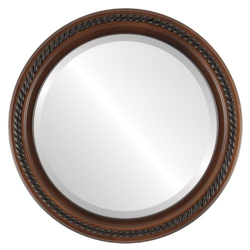 Round Beveled Wall Mirror for Home Decor - Santa Fe Style - Walnut - 16x16 outside dimensions