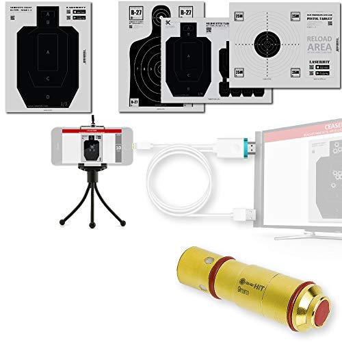 LaserHIT Dry Fire Training Kit - 9MM HD/300,000 Hits Battery Life Laser Training Cartridge (HD), Lightning-to-HDMI Cable, Tripod Mini, 4 Authentic Targets, Free Mobile app