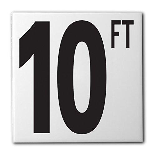 10' Ceramic Tile - Aquatic Custom Tile Ceramic Swimming Pool Waterline Depth Marker 10 FT Smooth Finish, 5 inch Font