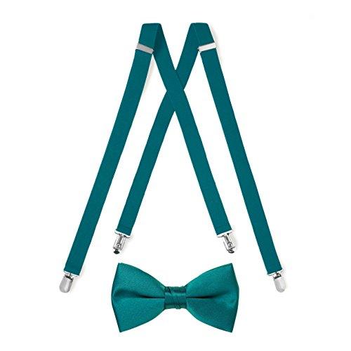 Teal Suspender & Bow Tie Set