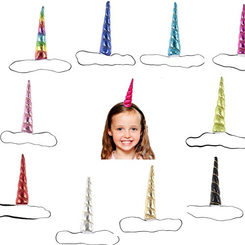 Price comparison product image Fonder Mols Unicorn Horn Headbands for Kids Birthday Party Rainbow Color (Pack of 10)
