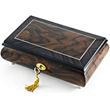 Modern 2 Toned Classic Style Burl Elm Matte with Rosewood Border Music Box - You've Gotta Be A Football Hero