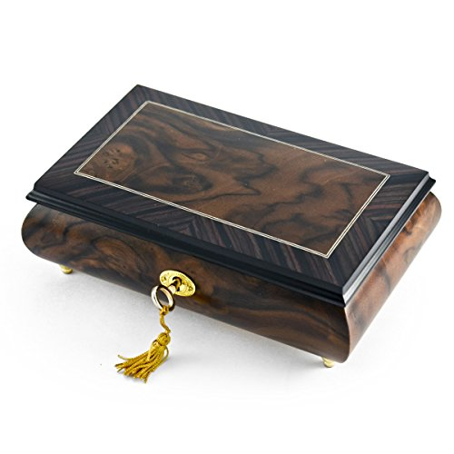Modern 2 Toned Classic Style Burl Elm Matte with Rosewood Border Music Box - Wedding March (Mendelssohn) - SWISS by MusicBoxAttic