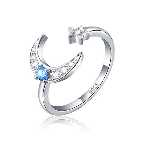 925 Sterling Silver Cz Moon Star Open Ring for Women (Expandable Rings) ()