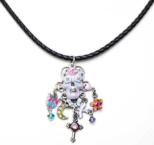 Kirks Folly Sugar Skull Dreams Braided Leather Cord Necklace silvertone