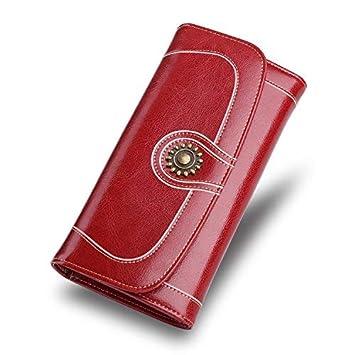 Porte cartes Portefeuille Porte monnaie femme cuir véritable pliant sac à main Sac de Carte Femme Luxe de Grande Capacité Multi carte Bourgogne