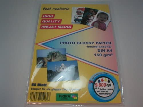 pripa 100 Blatt Fotopapier DINA4, 210g/qm, Glossy (glaenzend) hochauflösend, Fuer Inkjet Drucker (Tintenstrahldrucker).