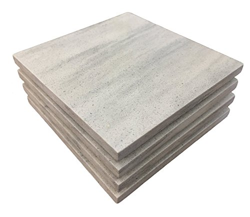 Stony Coasters - Quartz Stone Coasters - Glacier Wave (Set of 4, White/Grey) Made in the USA