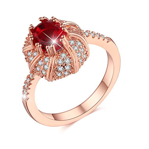 Madeone ✦ 18K White Gold Plating Oval red Pigeon Blood Ruby Excellent Cut Cubic Zirconia CZ Stone Luxury Rings for Women with Box Packing Size 6-10 (8)