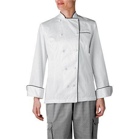 Chefwear WOMEN'S EXECUTIVE ROYAL COTTON CHEF COAT WHITE W/BLACK PIPING (3XL)