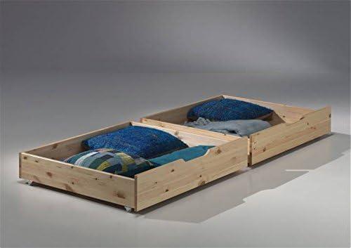 Vipack pisos de hochbett Pino, 90 x 200 cm, altura 182 cm, cama con cajones, madera maciza de pino, barnizado natural: Amazon.es: Juguetes y juegos