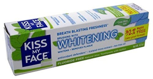 Kiss My Face Toothpaste Whitening Cool Mint 4.5 Ounce (Flouride-Free) (133ml) (6 Pack)