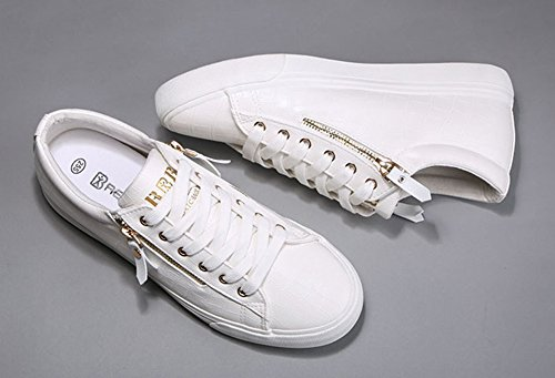 Sfnld Hombres Casual Lace Up Sneakers Zapatos Blanco