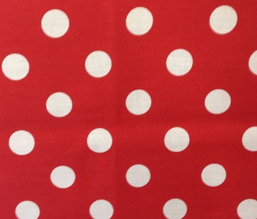 (Big Polka Dot Poly Cotton White Dots on Red 58 Inch Fabric By the Yard (F.E.®))