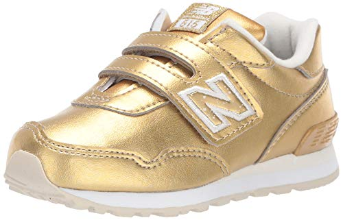 New Balance Girls' 515v1 Sneaker, Gold Metallic/White Hook and Loop Closure, 9 M US Toddler