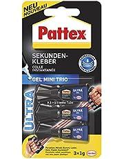 Pattex Secondelijm Gel Mini Trio/oplosmiddelvrije gellijm/transparant, druppelvrij en waterdicht / 3 x 1 g