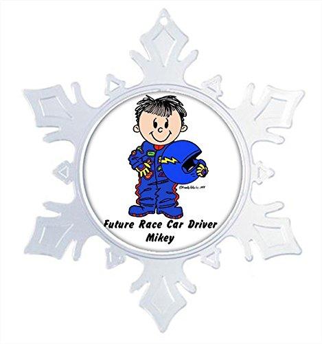 (Printed Perfection Personalized Future Race Car Driver - Male Snow Flake Christmas Ornament Friendly Folks, Gift, Keepsake, Room dÃcor)