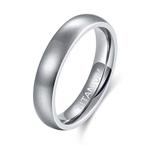 (TIGRADE 4mm/6mm/8mm Men's Titanium Ring Brushed Dome Wedding Band Comfort Fit Size 4-14 (4mm,)