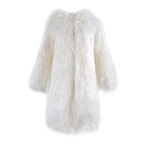 las abrigo Internet capucha la de mujeres sintética piel Escudo abrigo de capa la Abrigo larga con blanco de suave de wTxnIqS5