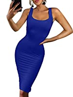 BEAGIMEG Women's Sexy Bodycon Sleeveless Pencil Knee Length Club Tank Dress