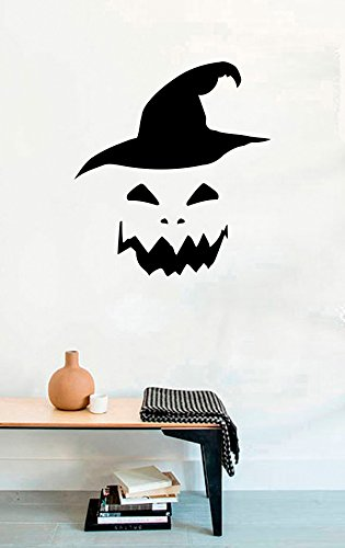 (Vinyl Wall Decal - Halloween Pumpkin Face on Witch Hat - Home Decor Sticker Vinyl)