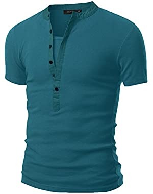 Mens Henley T-shirts with Short Sleeve
