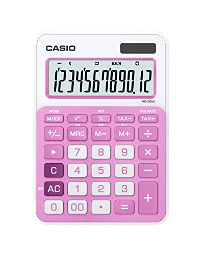 Casio Ms-20nc-pk Basic Calculator Large Display Tax Calculations Ms20nc Pink