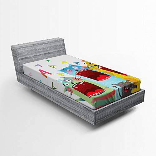 Ambesonne Nursery Fitted Sheet, Colorful Cartoon Cats and Rat Singing Funny Animal Characters Karaoke Night Theme, Soft Decorative Fabric Bedding All-Round Elastic Pocket, Twin XL Size, Multicolor]()