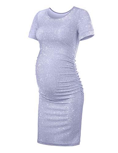 KIM S Maternity Dress, Maternity Party Dress Glitter Dress Purple Gray