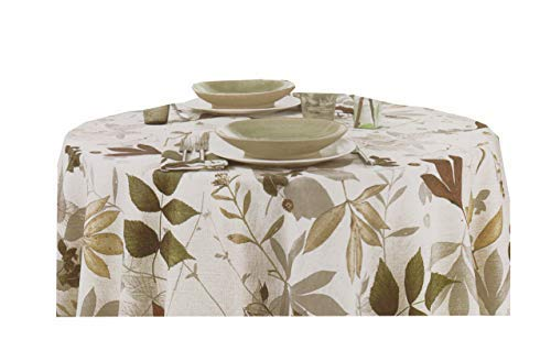Arlee Lancaster Tablecloth Taupe Grey Fall Leaves on White Fabric (60 x 120 Rectangle)