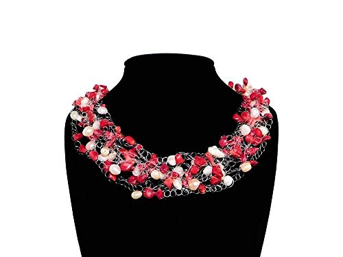Red Bamboo Coral and Freshwater Pearl Multi-Strand Floating Necklace. Nuggets Chips Necklace. Red White Bridesmaid Jewelry. Crochet Necklace Choker Collar