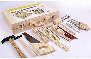 Rikey Juego de Herramientas de Juguete para niños, desmontaje Caja Multifuncional de carpintería Juego de Herramientas Reales de Madera de tamaño Infantil para niño: Amazon.es: Hogar
