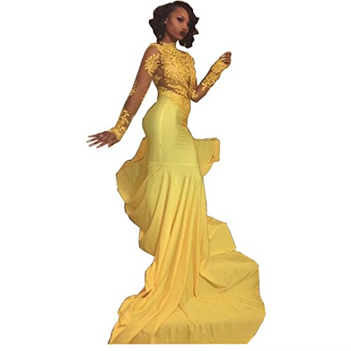 Chady Sexy African Black Girl Yellow Mermaid Prom Dresses 2017 Court Train Appliques Lace Long Sleeve Evening party gowns by Chady