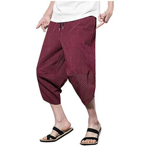 VEZAD Summer Harem Pants Men Casual Jogger Fitness Linen Loose Striped Cropped Trousers