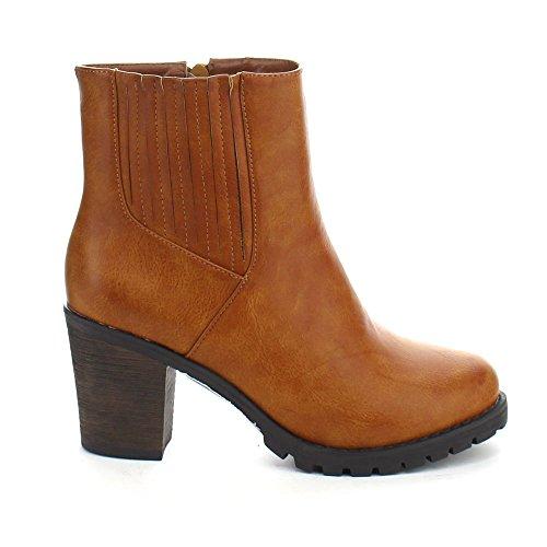 01 Elastic Lug Ankle Sole Refresh Women's KRISTIN Heel Chunky Toe COGNAC Booties Almond Xnn5pYq
