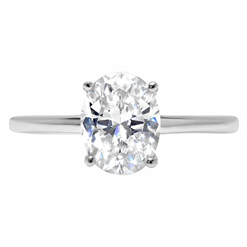 Clara Pucci 2.1ct Oval Brilliant Cut Simulated Diamond Classic Solitaire Designer Statement Ring Solid 14k White Gold for Women, 5.5 - Oval Solitaire Diamond Simulated Ring