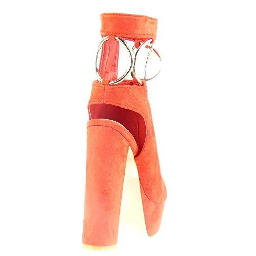 Angkorly - Scarpe da Moda Stivaletti - Scarponcini sandali zeppe aperto sexy donna fibbia tanga d'oro Tacco a blocco tacco alto 13.5 CM - Rosso