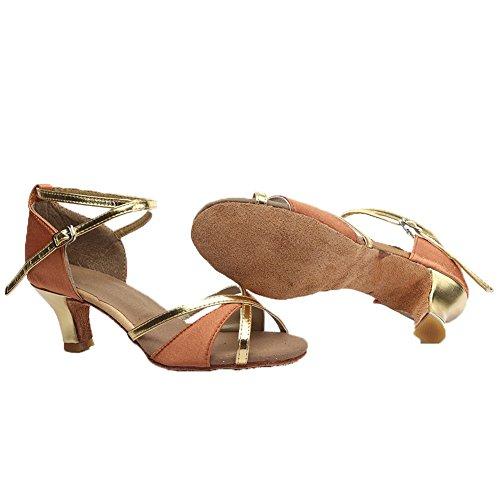 HROYL Zapatos de baile/Zapatos latinos de satén mujeres ES-805 5CM Marrón