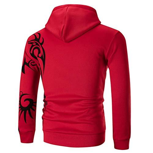 Manteaux Manches Imprimer Long Capuche Mode Aimee7 Tops T Rouge Shirt À Sweat Homme Chemise q6xnT78