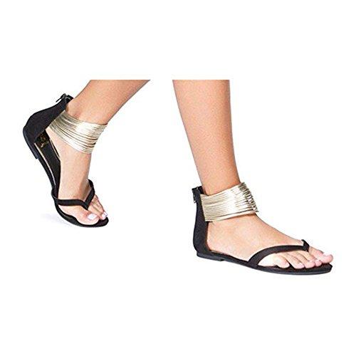 Gladiador Peep Sandalias Encantador Mujer Planas con Toe para Toe Clip Sandalias Negro Cremalleras 8qaBSF