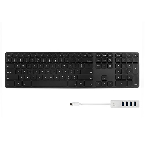 Matias FK318PCLBB Backlit RGB Wired Aluminum Keyboard for Windows and Linux with US Layout (Black) BUNDLED WITH Blucoil Mini USB C Hub with 4 USB Ports, Fast Charging Data Transfer Cable by blucoil