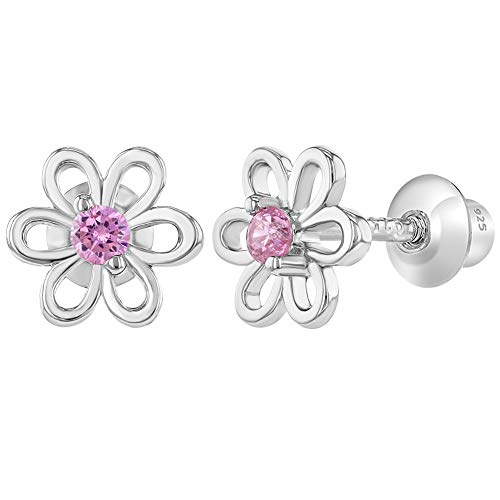 925 Sterling Silver Pink CZ Flower Screw Back Earrings for Girls Toddlers