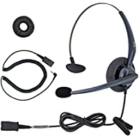 DailyHeadset 2.5 mm Mono Noise Cancelling Headset Over Ear Headphones For Corded Cordless VoIP IP Office Landline Home Telephone